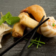 Stock Photo: Mix dim sum and roll spring