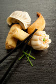 Mix dim sum and roll spring — Stock Photo