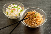 Cantonese rice and soy spaghetti — Stock Photo