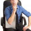 Smoking man with notebook — Stock Photo #2385079