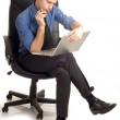 Thinking man with notebook — Stock Photo #2385261