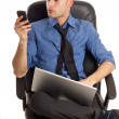 Man with phone and notebook — Stock Photo #2385332