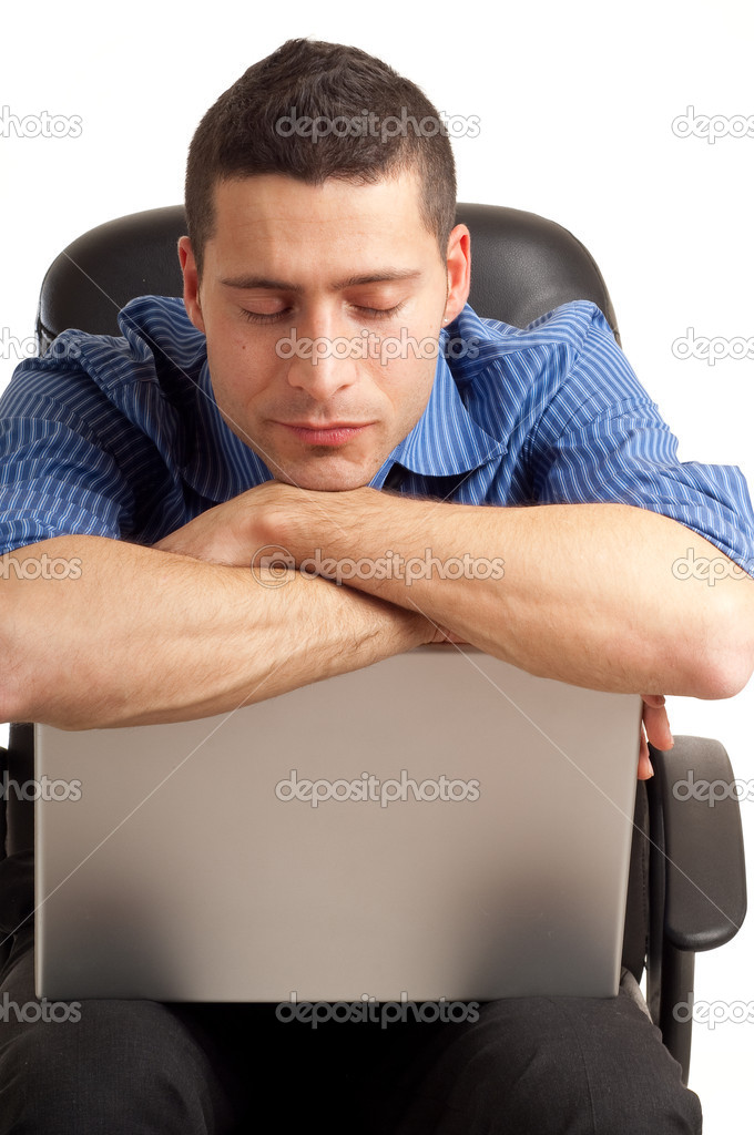 Man sleeping over computer — Stock Photo #2385657