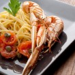 Dish with scampi spaghetti — Stock Photo #2485976