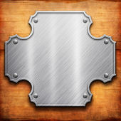Silver Metal and wooden Texture — Stock Photo