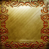 Gold metal plate — Stock Photo
