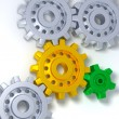 Royalty-Free Stock Photo: Silver, gold and green gears