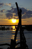 Sunset on Mekong river in Cambodia — Stock Photo