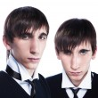 Young twins with fashion haircuts — Stock Photo
