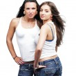 Two sexual girls wearing jeans — Stock Photo