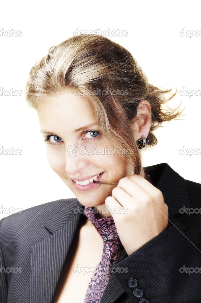 Young beautiful woman wearing suit, flirting — Stock Photo #1869254