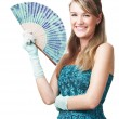 Happy young girl with fan, on white — Stock Photo