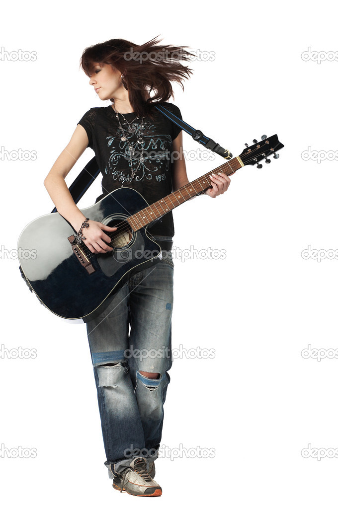 Teenager girl playing an acoustic guitar, isolated on white — Stock Photo #1889347