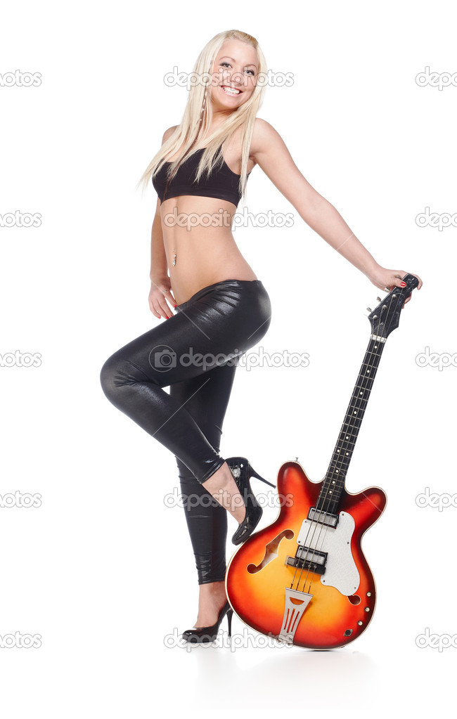 Sexy female holding a bass guitar isolated on white — Stock Photo #2589978