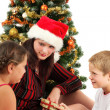 Foto Stock: Christmas family with presents