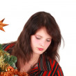 Young woman decorating christmas tree — Stock Photo