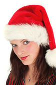 Young woman in Santa hat — Stock Photo