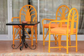 Chairs on patio — Stock Photo