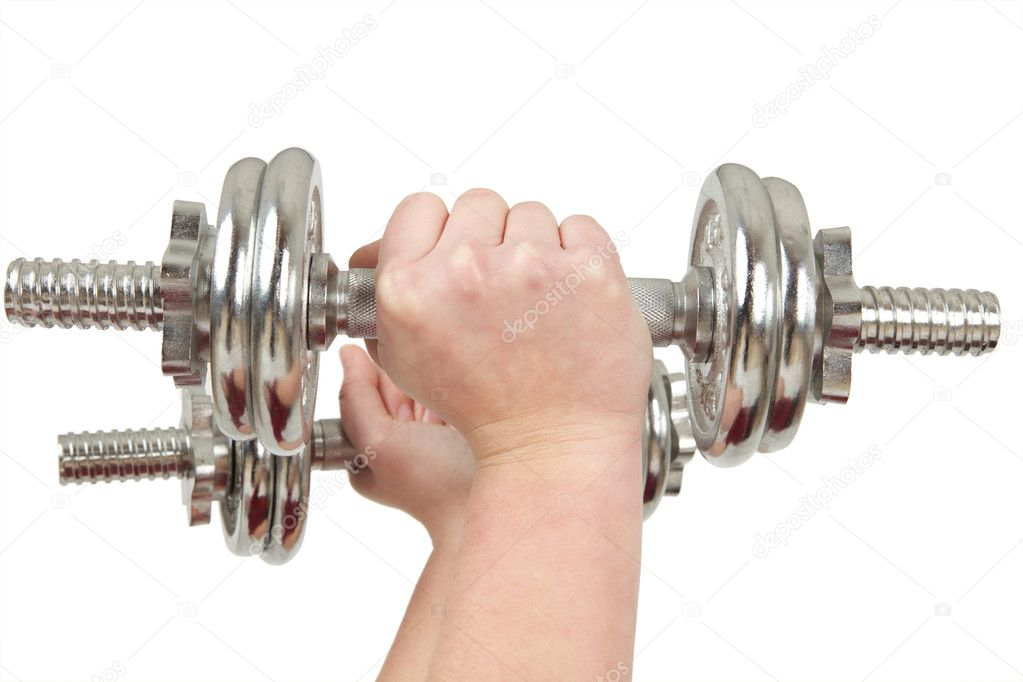 Two hands holding silver barbells — Stock Photo #1880919