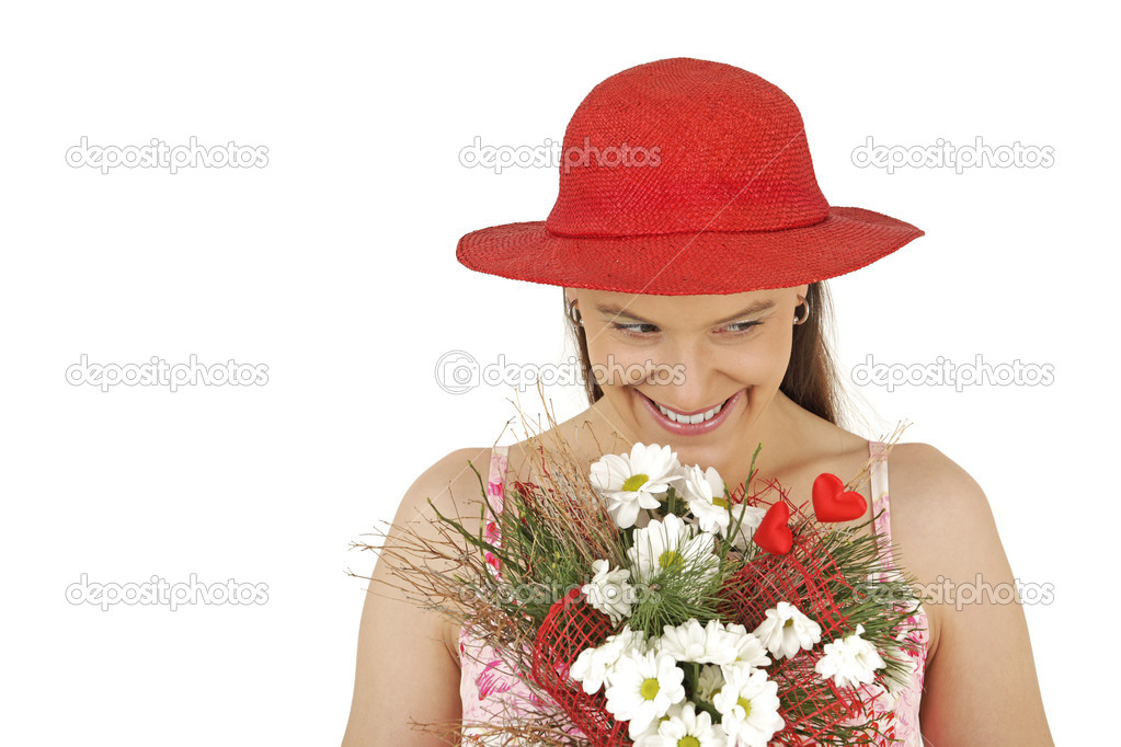 Young girl holds flowers isolated in white background — Stock Photo #1895011
