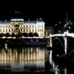 Bridge and University of Lyon by night — Stock Photo