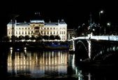 Bridge and University of Lyon by night — Stock Photo