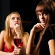 Stock Photo: Two young women in night bar