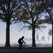 Biker on Foggy Morning — Stock Photo