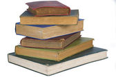 Stack av gamla, slitna böcker isolerade — Stockfoto