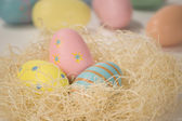Close-up of Easter eggs in a nest — Stock Photo