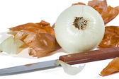 Knife and Onion — Stock Photo