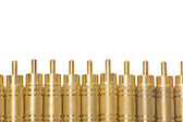 A closeup of gold plated RCA jacks — Stock Photo