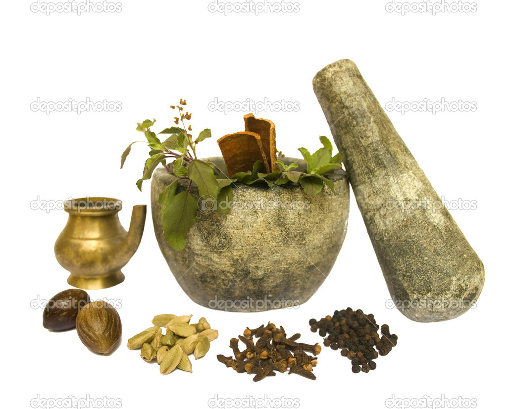 Image of Ayurveda Natural Health tools isolated with clipping path — Stock Photo #2069080
