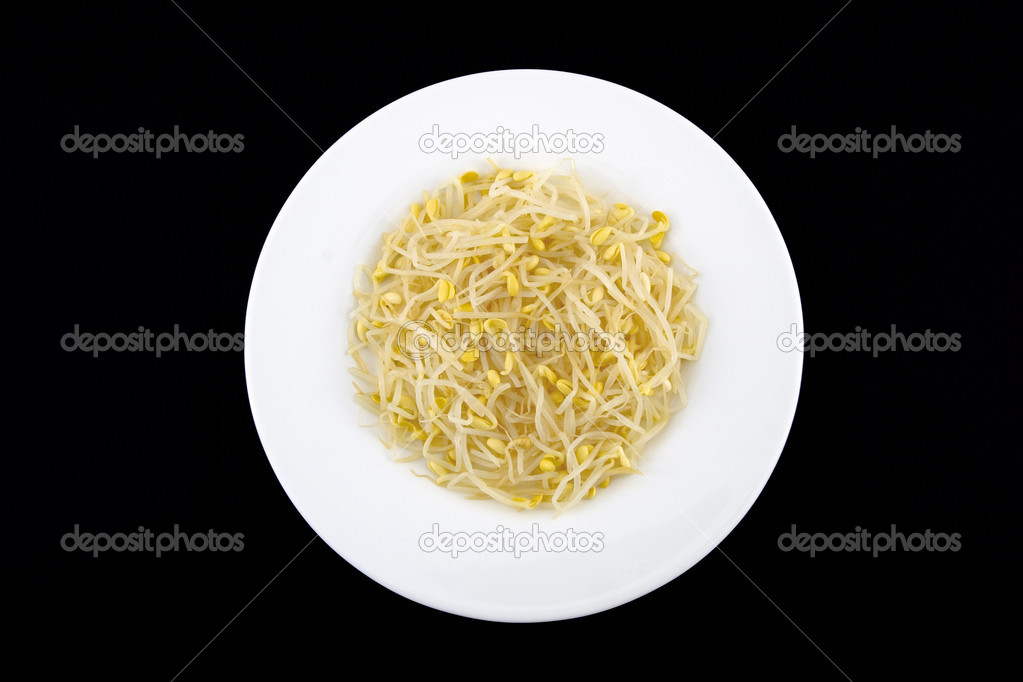 Bean sprouts on white dish — Stock Photo #2410755