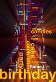 Birthday word cloud glowing — Stock Photo