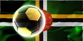 Flag of Dominica wavy soccer — Stock Photo