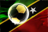 Flag of Saint Kitts and Nevis St. wavy soccer — Stock Photo