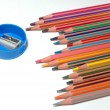Stock Photo: Crayons and sharpener