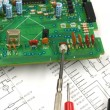 Printed circuit board and scheme — Stock Photo