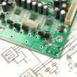 Circuit board and electronic scheme - Stock Photo