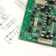 Printed circuit board and scheme - Stock Photo