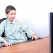Boy and computer — Stock Photo