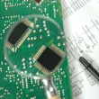 Microprocessors on circuit board — Stock Photo