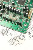 Leiterplatten und elektronische regelung — Stockfoto