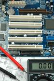 Elektronische zähler und platine — Stockfoto