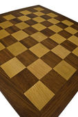 Wooden chessboard - wide angle — Stock Photo