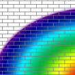 Brick wall with rainbow colors - Stock Photo