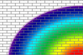 Brick wall with rainbow colors — Stock fotografie