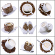 Stock Photo: Collage (collection) of various coffee cups with coffee.