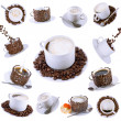 Collage (collection) of various coffee cups with coffee. — Stock Photo #1896906
